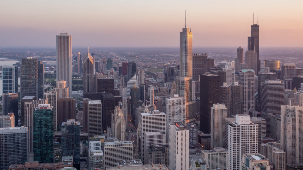 4K+) Beautiful Chicago Skyline Skyscrapers Day to Night Aerial ...