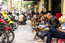 People Drink Coffee On Street At Old Quarter In Hanoi, Vietnam ...