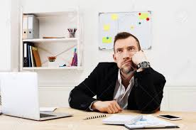 Bored Office Worker, Annoyed Businessman At Workplace Stock Photo ...