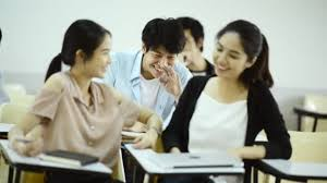 Asian University Life Concept Group Young Asian College Students ...
