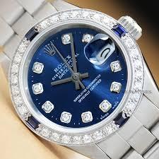 GENUINE LADIES ROLEX DATEJUST BLUE DIAMOND DIAL WATCH & ROLEX OYSTER BAND |  eBay