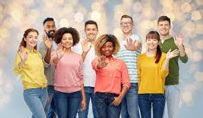International Group Of Happy People Waving Hand Stock Photo, Picture And Royalty  Free Image. Image 71052411.